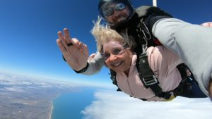 Jackie freefalling from 15000 feet